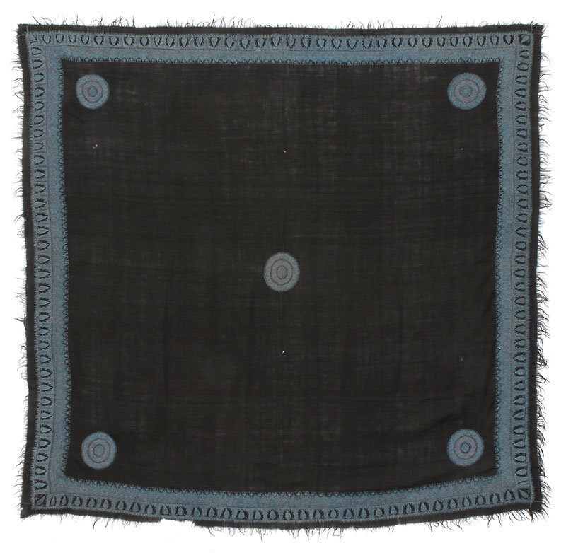 Old Persian or Indian Embroidered Wool Shawl.