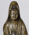 Fine Japanese Inlaid Bronze Figure of Kannon, Signed.