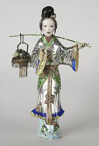 Chinese Silver Enamel Figure of He Xiangu Figure.