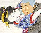 "Japanese Erotic Shunga Painting ""August"", Meiji."