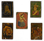 "Five Persian Qajar Playing Cards for Game of ""As Nas""."