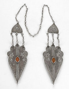 "Old Turkoman Woman's Cap Silver Ornament - ""Canne""."