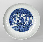 Chinese Blue & White Porcelain Saucer - Bird of Prey #3