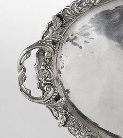 An Ottoman Silver Repousse Tray, Turkey, 19th C.