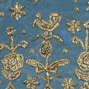 Indo Persian Zardozi Embroidery Textile Fragment.