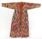 Antique Uzbek Silk Cotton Ikat Chapan Robe, # 1.