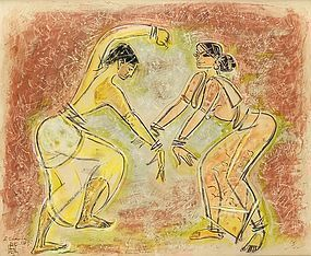 """Dancers"" by Indian Artist Shiavax Chavda (1914 - 1990)"