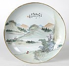 Chinese Porcelain Plate w. Landscape in Qianjiang, # 1