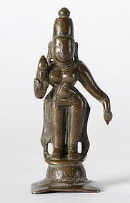 Antique Indian Miniature Bronze Statue of Bhudevi.
