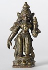 Antique Indian Miniature Bronze Statue of Sri Devi.