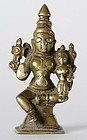 Antique Indian Miniature Statue of Uma-Maheshvara.