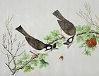 Chinese Bird & Flower Pith Paper Painting #5, 19th C.
