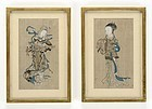 Two Small Antique Chinese Paintings on Silk, Qing.