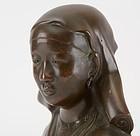 French-Vietnamese Bronze Bust of an Asian Girl.