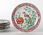 Set of 6 Straits Chinese Porcelain Dinner Plates.