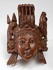 Chinese Carved Wood Mask of Hua Mulan, c. 1940.