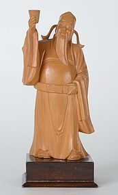 Old Chinese Boxwood Carving Statue of Li Bai, c. 1950.