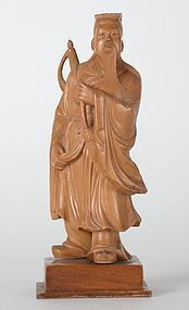 Old Chinese Boxwood Carving Statue of Lu Dongbin.