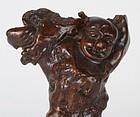 Chinese Burl Wood Figurine of Immortal, 19th C.