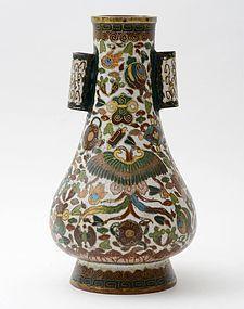 "Japanese Cloisonne Enamel ""Arrow Toss"" Vase, 19th C."