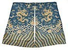 Two Chinese Embroidered Dragon Robe Panels, 19th C.