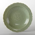 Chinese Carved & Impressed Longquan Celadon Dish, Ming.