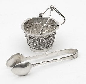 Chinese Export Silver Sugar Tongs & Tea Strainer.