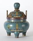 Chinese Gilt Cloisonne Enamel Censer, late Qing.