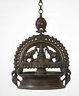 Antique Indian Bronze Hanging Oil Lamp, Kerala.