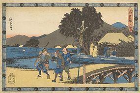 "Hiroshige  - Act VI of ""Chushingura"" Woodblock Print."