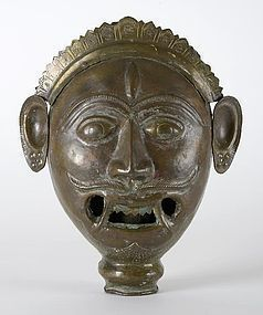 Indian Bronze Monster Mask of a Demon Chaser, 19th C.