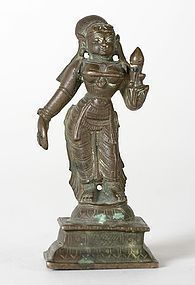 Indian Miniature Bronze Statue of Goddess Sri Devi.