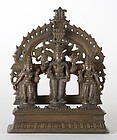 Antique Indian Bronze Altar of Vishnu with Consorts.