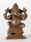 Antique Indian Miniature Bronze Statue of Ganesha, South India.