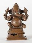 Antique Indian Miniature Bronze Statue of Ganesha, South India.