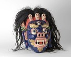 Old Himalayan Painted Wood Dancing Ritual Mask of Mahakala.