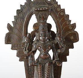 Small Antique Indian Bronze Altar of Vishnu, c. 1920.