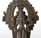 Small Antique Indian Bronze Altar of Vishnu, c. 1920.