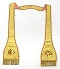Chinese Yellow Silk Christian Stole w. Dragon Roundels.
