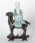 Chinese Porcelain Figure of Immortal Zhang Guolao Riding on a Mule.