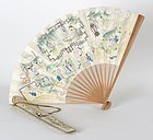 Chinese Painted Fan with Fan Case Embroidered with Poem, late Qing