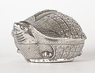 Old Cambodian Figural Silver Betel Box in Turtle Shape.