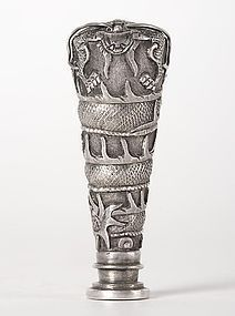 Chinese Export Silver Seal Chop with Dragon, c. 1920.