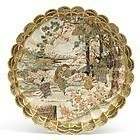 Japanese Satsuma Moriage Plate with Dancing Scene, Meiji.