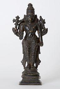 Old Indian Bronze Figure of Four-Armed Vishnu.