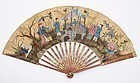 Rare 18th C. European Painted Folding Fan with Chinoiserie Decor.