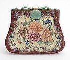 Old Silk Petit Point Evening Purse with Chinese Jadeite Clasp.