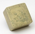 Old Chinese Paktong Ink Box w. Cat & Calligraphy, c. 1930.