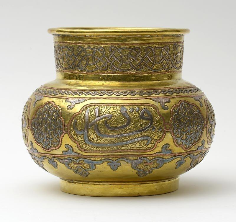 Antique Silver & Copper Inlaid Cairoware Jar, Egypt.