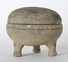 "Chinese Han Style Pottery Ding Tripod Vessel w. ""Bluett London"" Label."
